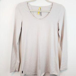 Lole | Womens heathered tan long sleeve open back